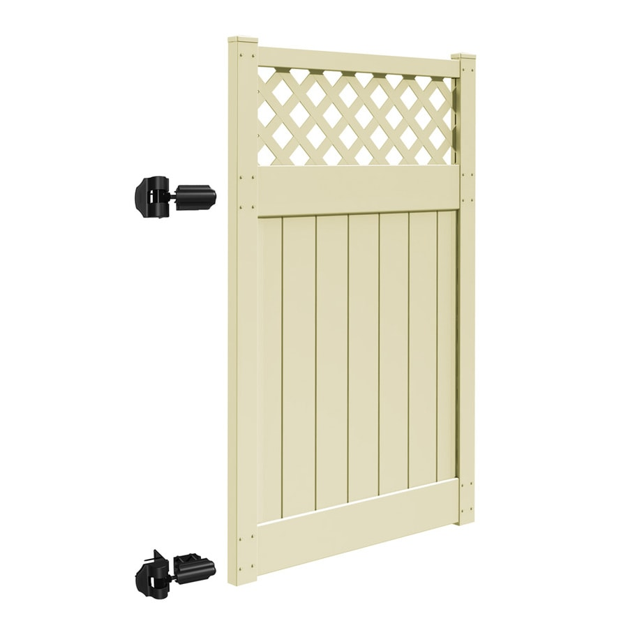 Freedom Bradford Sand Vinyl Semi-Privacy Fence Gate (Common: 4-ft x 6-ft; Actual: 3.83-ft x 6-ft)