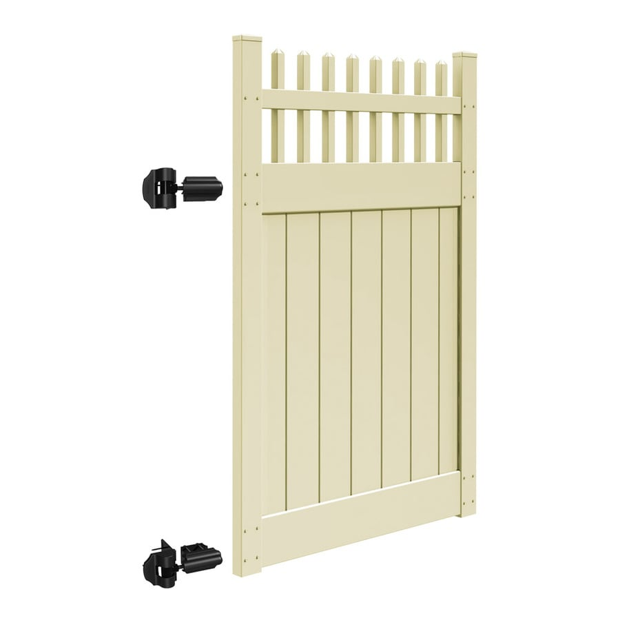 Freedom Canterbury Sand Vinyl Semi-Privacy Fence Gate (Common: 4-ft x 6-ft; Actual: 3.83-ft x 6-ft)