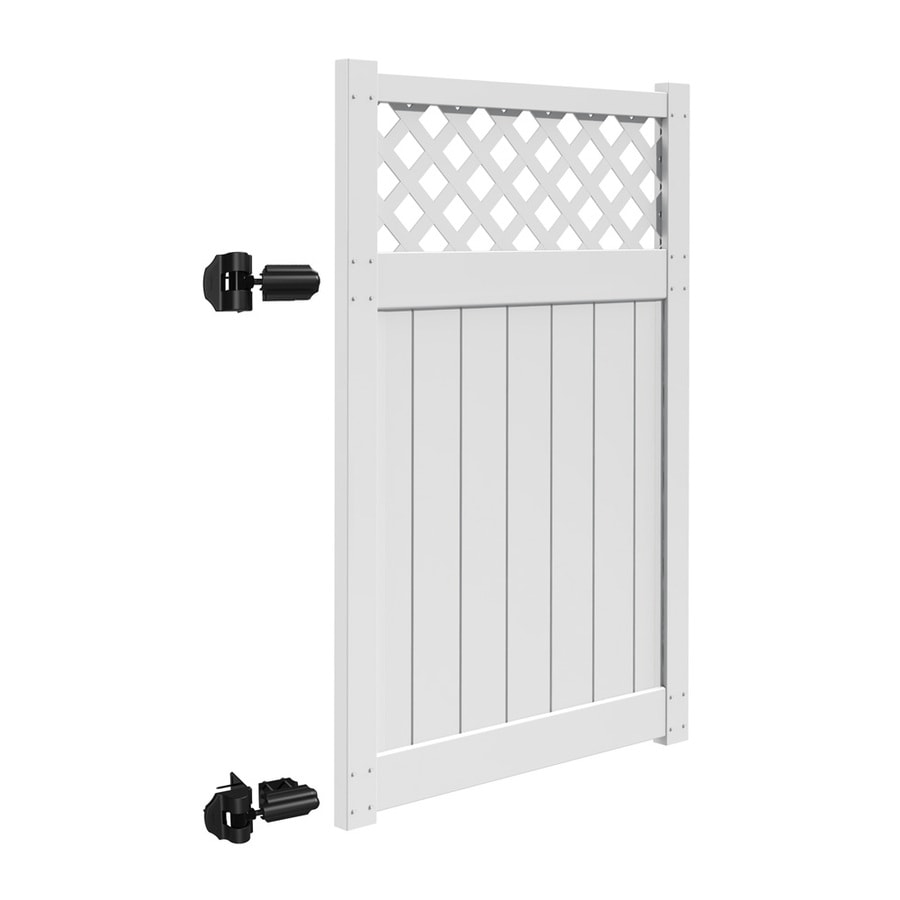 Freedom Freeport White Vinyl Semi-Privacy Fence Gate (Common: 4-ft x 6-ft; Actual: 3.83-ft x 5.83-ft)