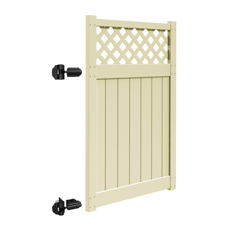 Freedom Freeport Sand Vinyl Semi-Privacy Fence Gate (Common: 4-ft x 6-ft; Actual: 3.83-ft x 5.83-ft)
