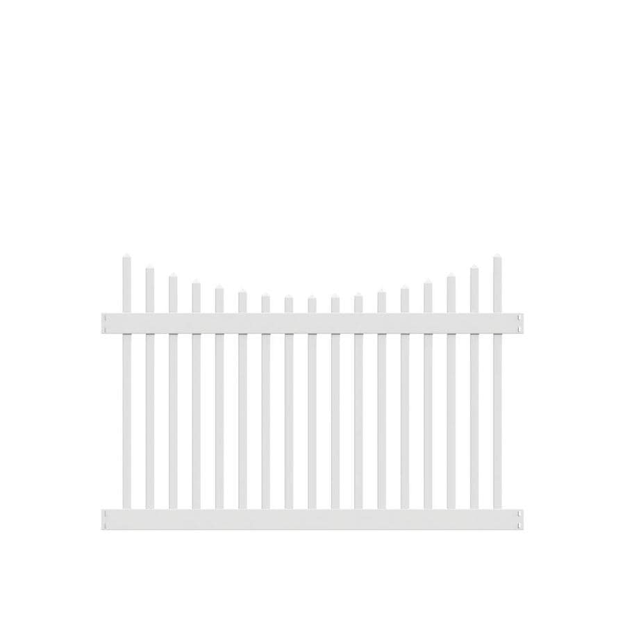 Freedom Ready-To-Assemble Carlisle Scallop White Vinyl Fence Panel (Common: 6-ft x 4-ft; Actual: 5.64-ft x 3.83-ft)
