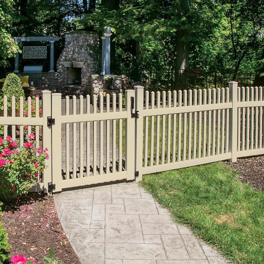 Freedom Ready-To-Assemble Carlisle Straight Sand Vinyl Fence Panel (Common: 6-ft x 4-ft; Actual: 5.64-ft x 3.83-ft)