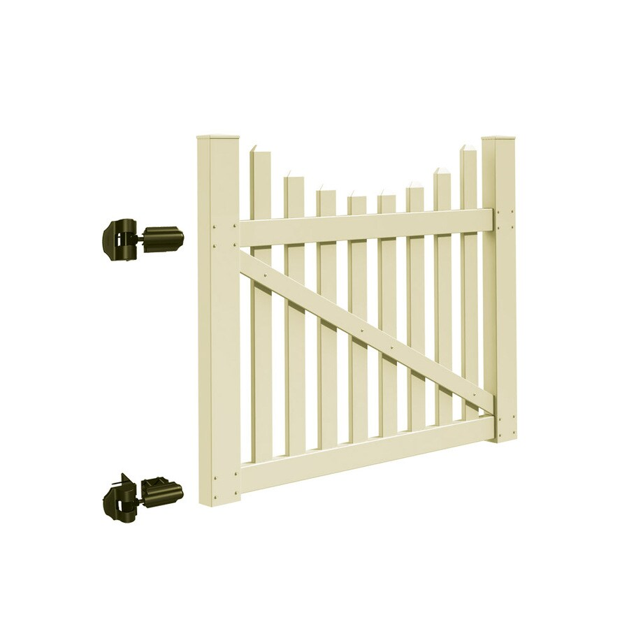 Freedom Coventry Scallop Sand Vinyl Fence Gate (Common: 5-ft x 4-ft; Actual: 4.83-ft x 3.83-ft)