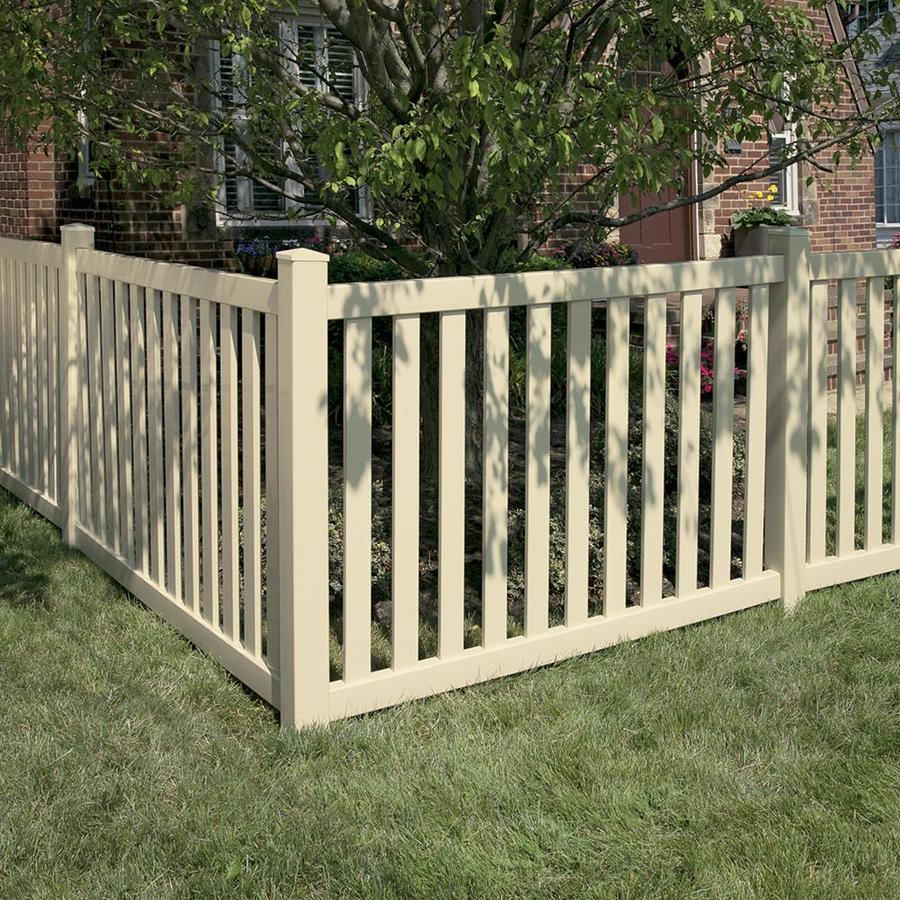 Freedom Ready-To-Assemble Durham Sand Vinyl Fence Panel (Common: 6-ft x 4-ft; Actual: 5.64-ft x 3.83-ft)