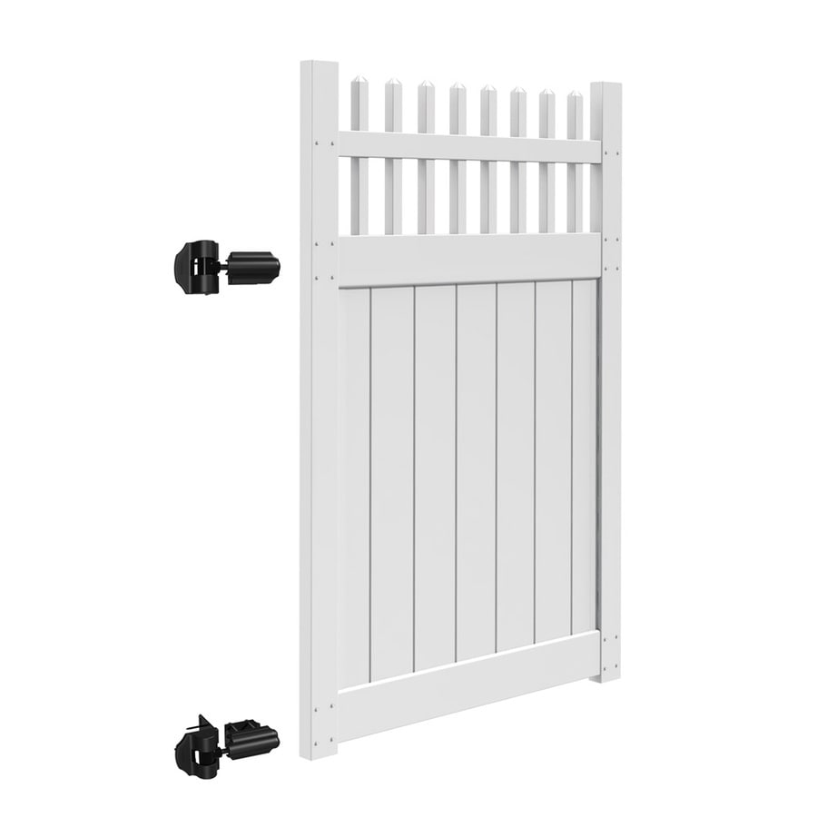 Freedom Manchester White Vinyl Fence Gate (Common: 4-ft x 6-ft; Actual: 3.83-ft x 5.83-ft)