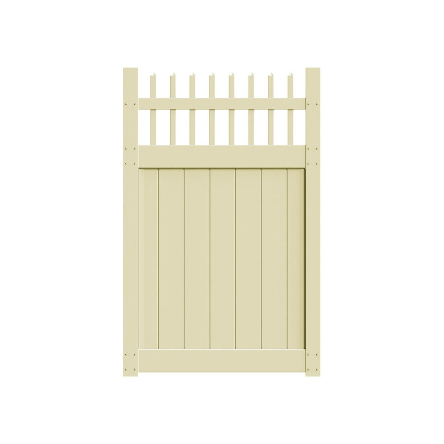Freedom Manchester Sand Vinyl Fence Gate (Common: 4-ft x 6-ft; Actual: 3.83-ft x 5.83-ft)