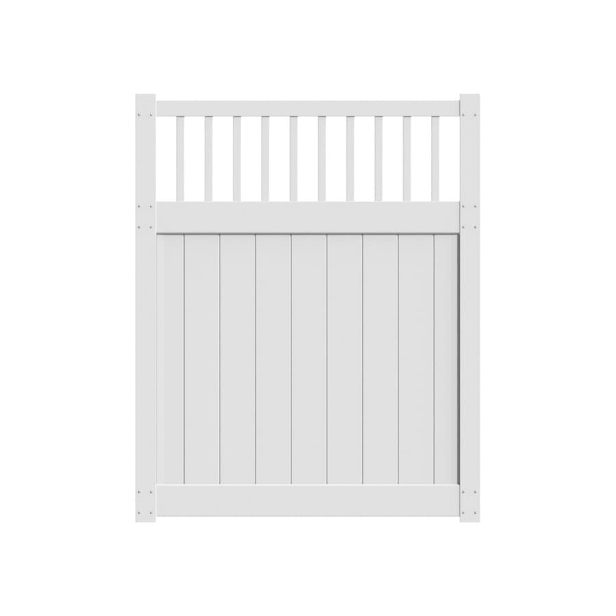 Freedom Bexley White Vinyl Fence Gate (Common: 5-ft x 6-ft; Actual: 4.83-ft x 5.83-ft)