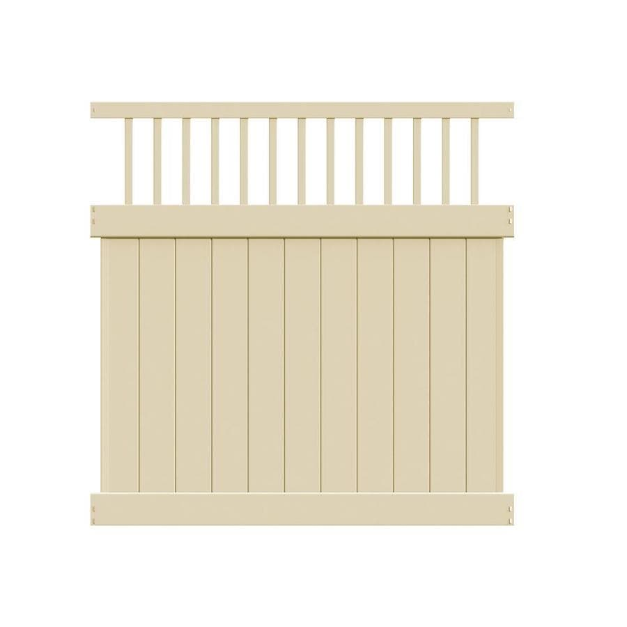 Freedom Ready-to-Assemble Bexley Sand Vinyl Semi-Privacy Fence Panel (Common: 6-ft x 6-ft; Actual: 5.56-ft x 5.83-ft)