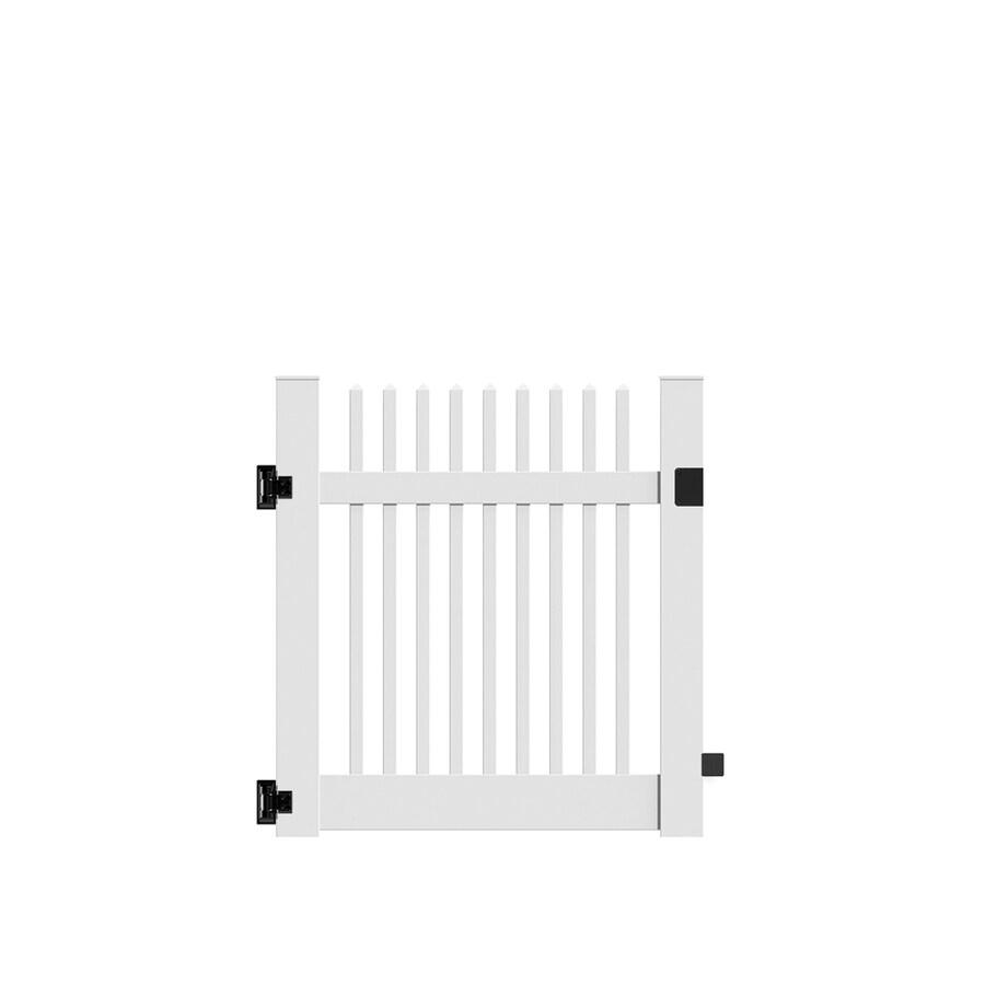 Freedom Keswick White Vinyl Fence Gate (Common: 4-ft x 4-ft; Actual: 3.83-ft x 4-ft)