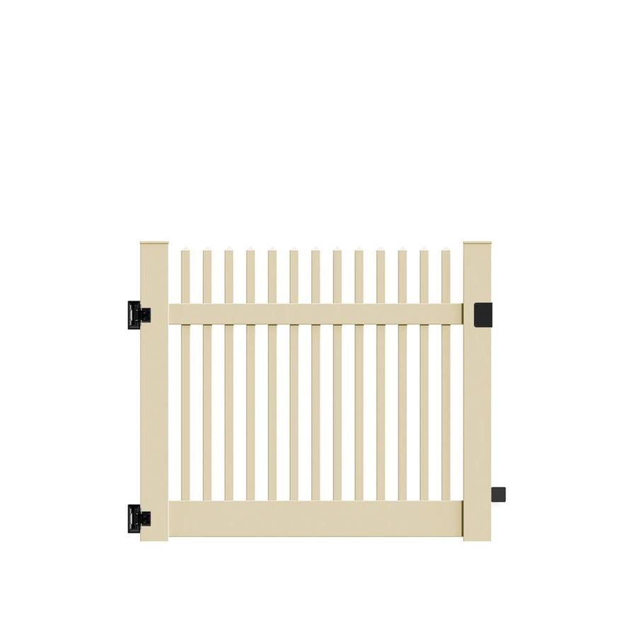 Freedom Keswick Sand Vinyl Fence Gate (Common: 5-ft x 4-ft; Actual: 4.83-ft x 4-ft)