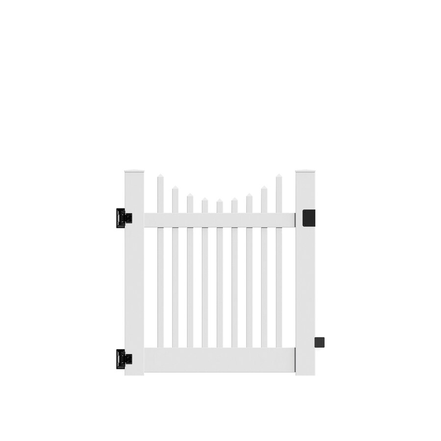 Freedom Keswick Scallop White Vinyl Fence Gate (Common: 4-ft x 4-ft; Actual: 3.83-ft x 4-ft)
