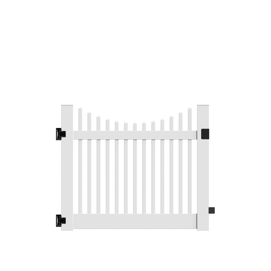 Freedom Keswick Scallop White Vinyl Fence Gate (Common: 5-ft x 4-ft; Actual: 4.83-ft x 4-ft)