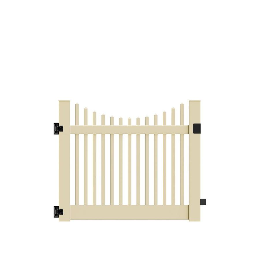 Freedom Keswick Scallop Sand Vinyl Fence Gate (Common: 5-ft x 4-ft; Actual: 4.83-ft x 4-ft)