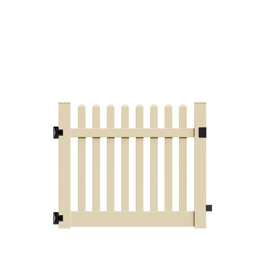 Freedom Lennox Sand Vinyl Fence Gate (Common: 4-ft x 4-ft; Actual: 3.83-ft x 4-ft)