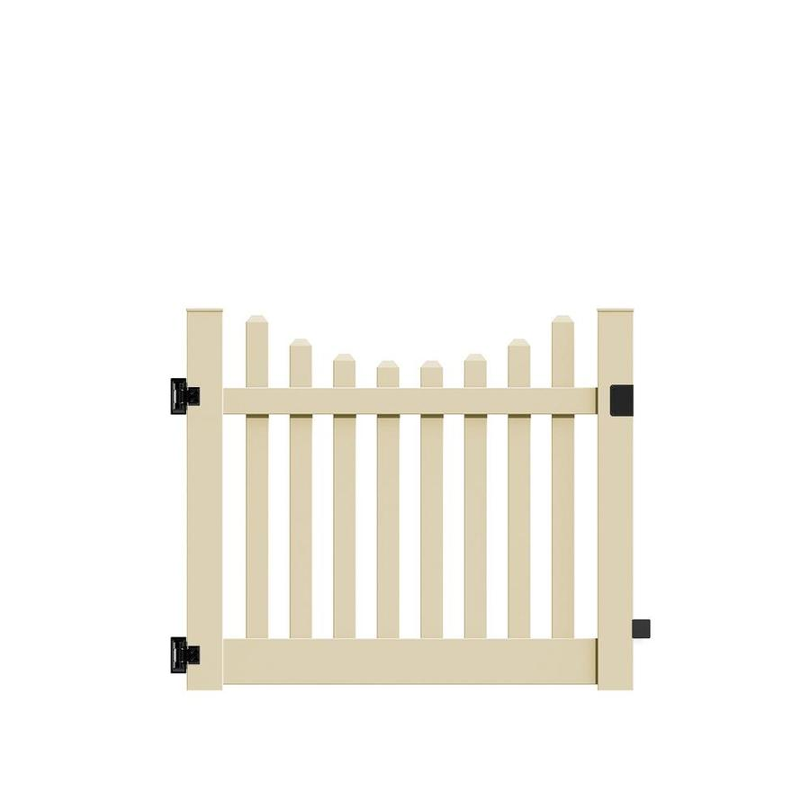 Freedom Lennox Scallop Sand Vinyl Fence Gate (Common: 5-ft x 4-ft; Actual: 4.83-ft x 4-ft)