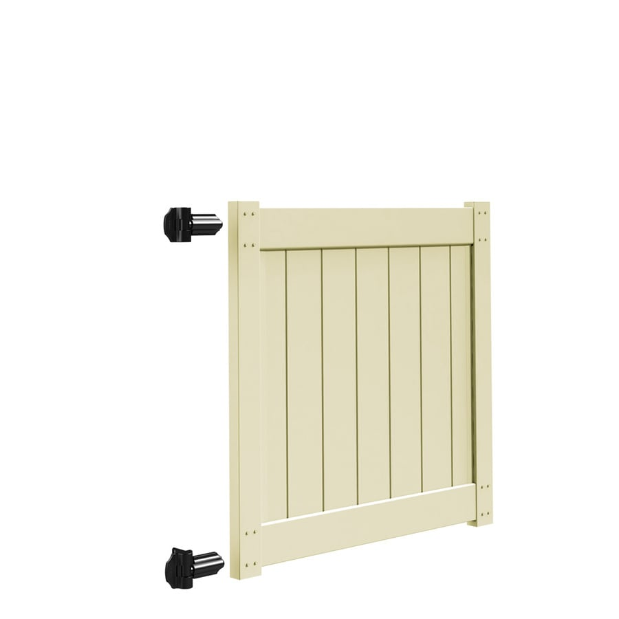 Freedom Sand Vinyl Privacy Fence Gate (Common: 4-ft x 4-ft; Actual: 3.83-ft x 4-ft)