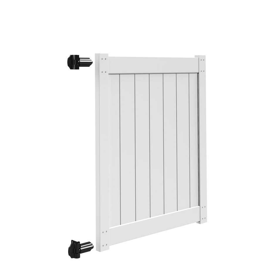 Freedom White Vinyl Privacy Fence Gate (Common: 4-ft x 5-ft; Actual: 3.83-ft x 5-ft)