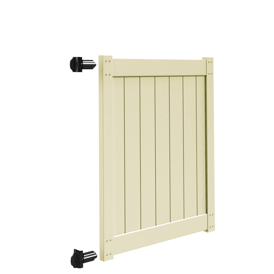 Freedom Sand Vinyl Privacy Fence Gate (Common: 4-ft x 5-ft; Actual: 3.83-ft x 5-ft)