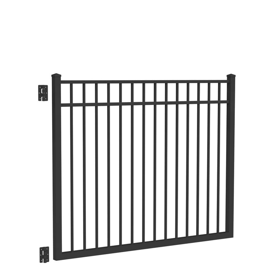 Freedom New Haven Black Aluminum Decorative Fence Gate (Common: 6-ft x 4.5-ft; Actual: 5.875-ft x 4.7-ft)