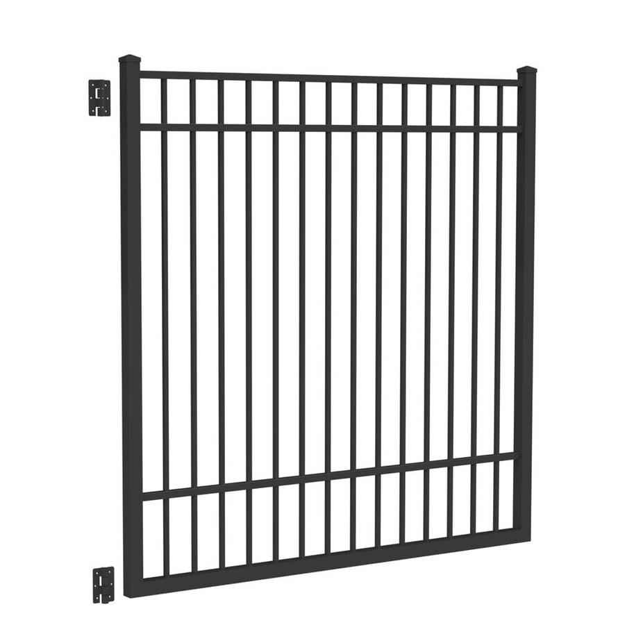 Freedom New Haven Black Aluminum Decorative Fence Gate (Common: 6-ft x 6-ft; Actual: 5.875-ft x 5.04-ft)
