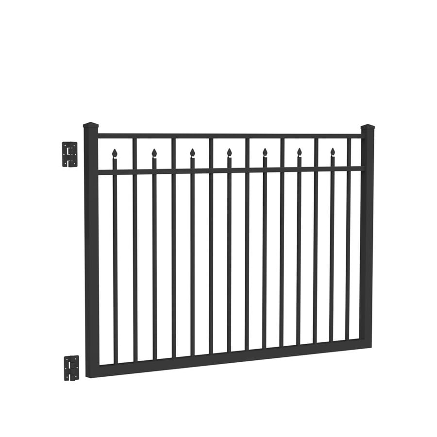 Freedom Concord Black Aluminum Decorative Fence Gate (Common: 6-ft x 4-ft; Actual: 5.875-ft x 4.04-ft)
