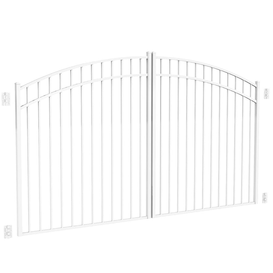 Freedom White Aluminum Driveway Gate (Common: 120-in; Actual: 117-in)