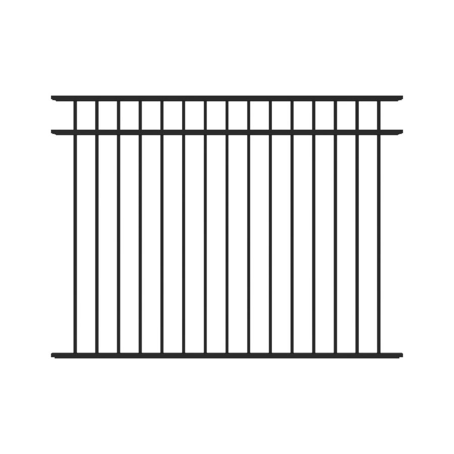 Freedom Pre-Assembled New Haven Black Aluminum Decorative Metal Fence Panel (Common: 6-ft x 4.5-ft; Actual: 6.02-ft x 4.5-ft)