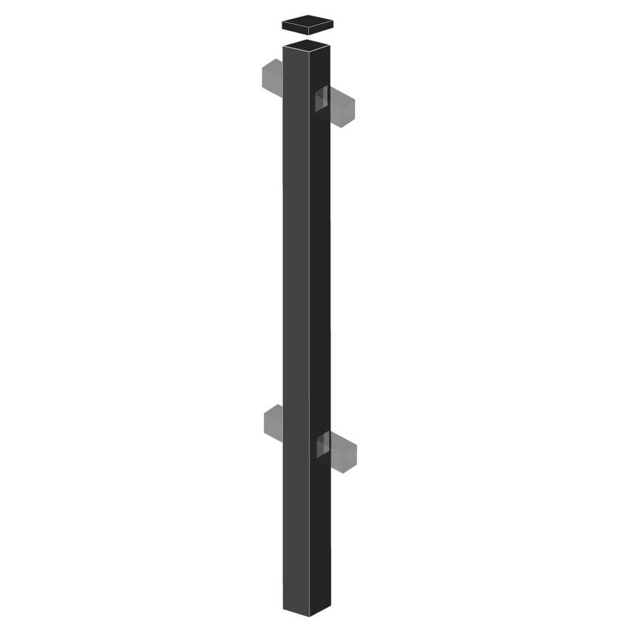 Freedom Standard Black Aluminum Fence Line Post (Common: 2-in x 2-in x 6-ft; Actual: 2-in x 2-in x 5.83-ft)