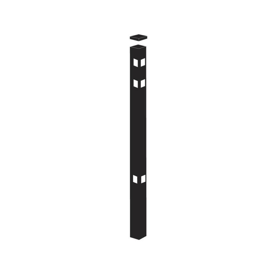 Freedom Standard Black Aluminum Fence Corner Post (Common: 2-in x 2-in x 7-ft; Actual: 2-in x 2-in x 6.83-ft)