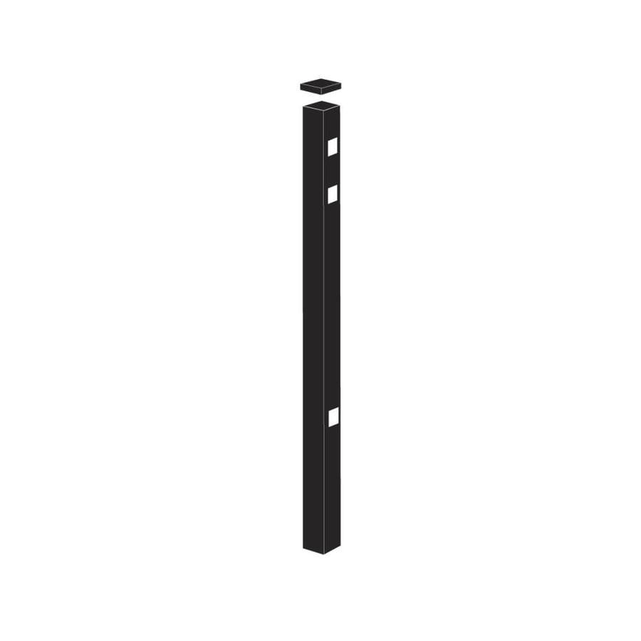 Freedom Standard Black Aluminum Fence End Post (Common: 2-in x 2-in x 7-ft; Actual: 2-in x 2-in x 6.83-ft)