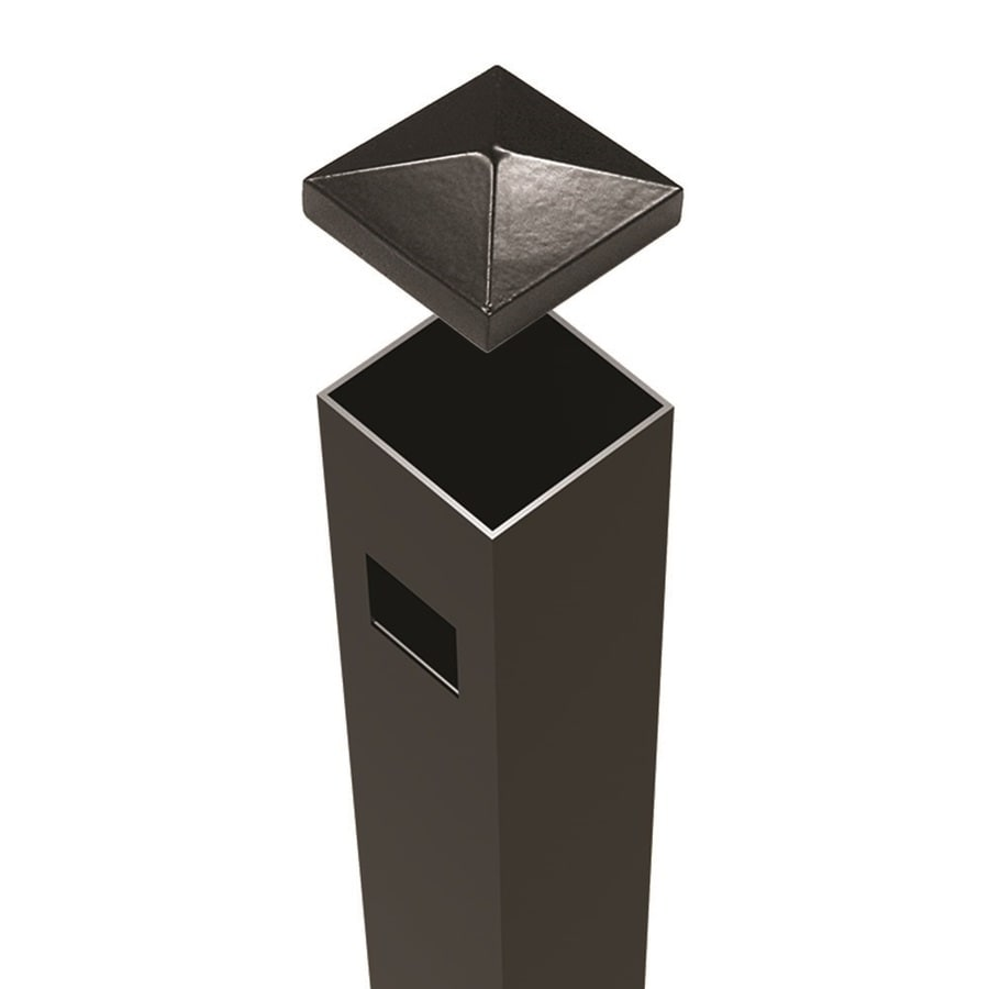 Freedom Ready-to-Assemble Black Aluminum Fence End Post (Common: 2-in x 2-in 6-ft; Actual: 2-in x 2-in 5.83-ft)