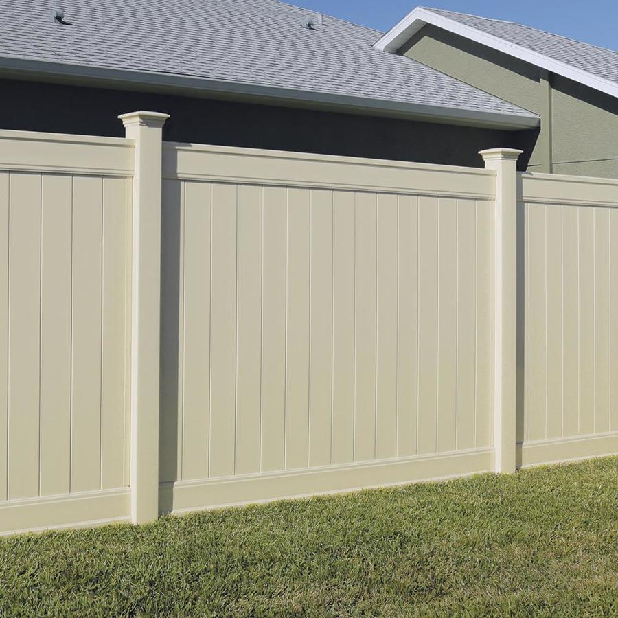 Freedom Ready-To-Assemble Emblem Sand Vinyl Privacy Fence Panel (Common: 8-ft x 6-ft; Actual: 7.82-ft x 6-ft)