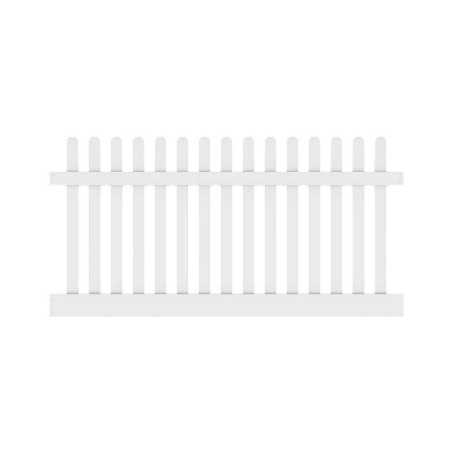 Freedom Ready-To-Assemble Lennox White Vinyl Fence Panel (Common: 8-ft x 4-ft; Actual: 7.56-ft x 4-ft)