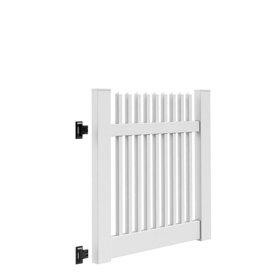 Freedom Keswick White Vinyl Fence Gate Kit (Common: 4-ft x 4-ft; Actual: 3.83-ft x 4-ft)