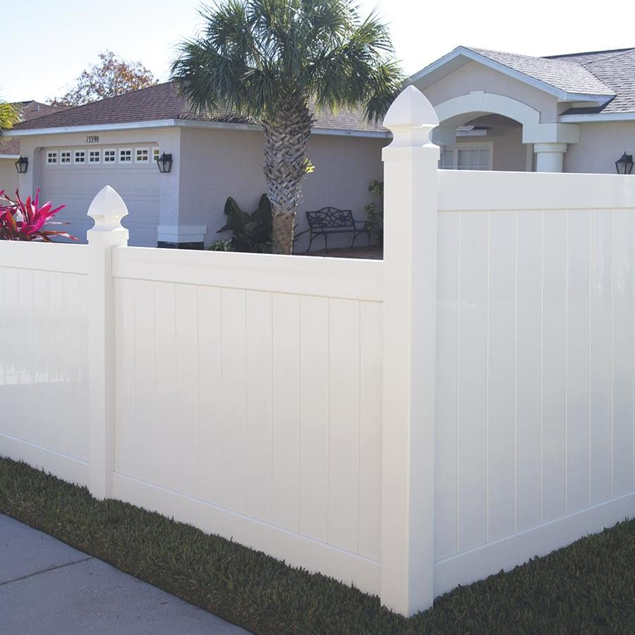 Freedom Ready-To-Assemble Hampton White Vinyl Privacy Fence Panel (Common: 6-ft x 4-ft; Actual: 5.56-ft x 3.83-ft)