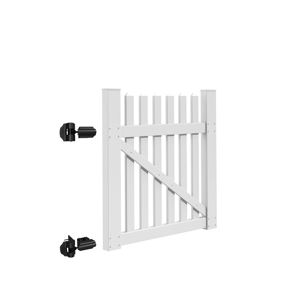 Freedom Coventry White Vinyl Fence Gate Kit (Common: 4-ft x 4-ft; Actual: 3.83-ft x 3.83-ft)