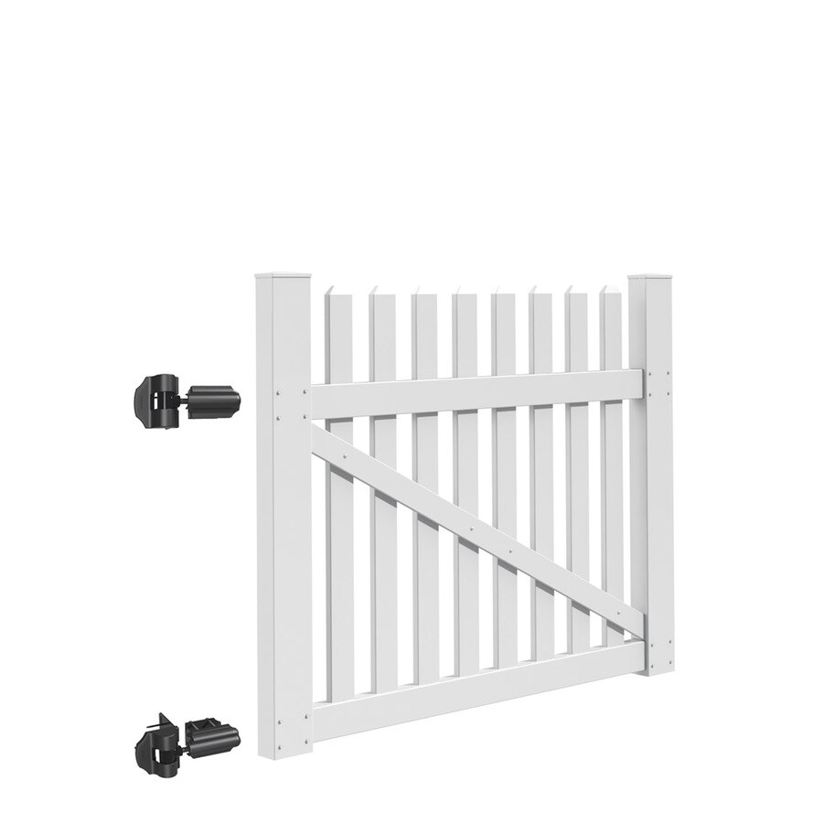 Freedom Coventry White Vinyl Fence Gate Kit (Common: 5-ft x 4-ft; Actual: 4.83-ft x 3.83-ft)