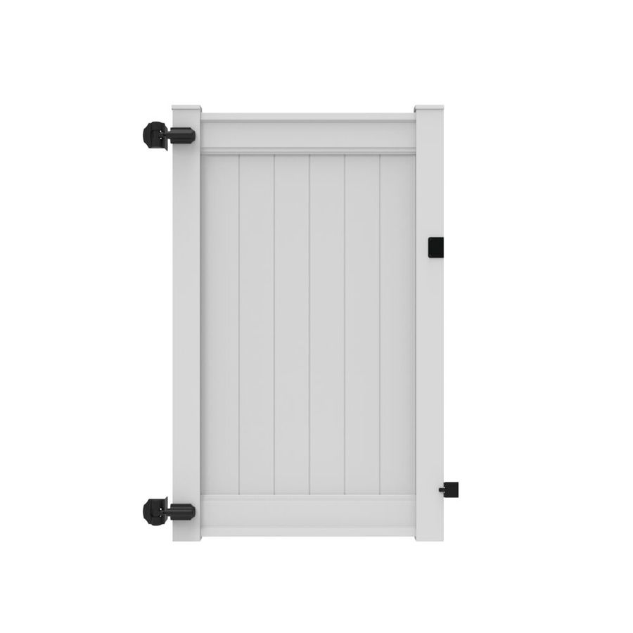 Freedom Emblem White Vinyl Privacy Fence Gate (Common: 4-ft x 6-ft; Actual: 3.83-ft x 6-ft)