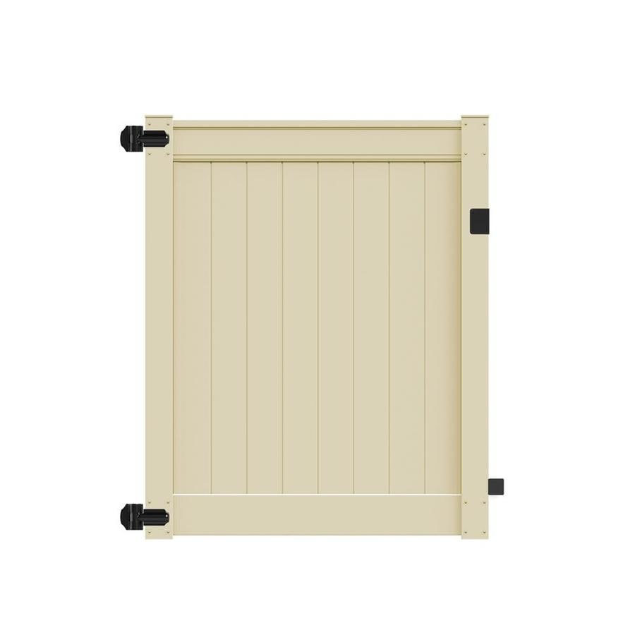Freedom Emblem Sand Vinyl Privacy Fence Gate (Common: 5-ft x 6-ft; Actual: 4.83-ft x 6-ft)