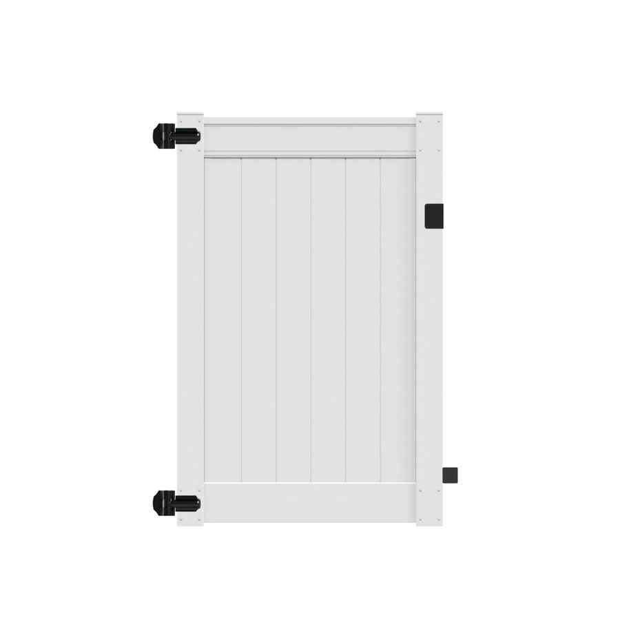 Freedom Everton White Vinyl Privacy Fence Gate (Common: 4-ft x 6-ft; Actual: 3.84-ft x 5.84-ft)