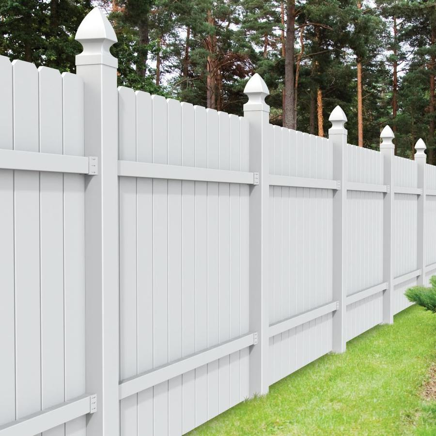 Freedom Pre-Assembled All American Dogear White Vinyl Privacy Fence Panel (Common: 6-ft x 6-ft; Actual: 5.68-ft x 5.83-ft)