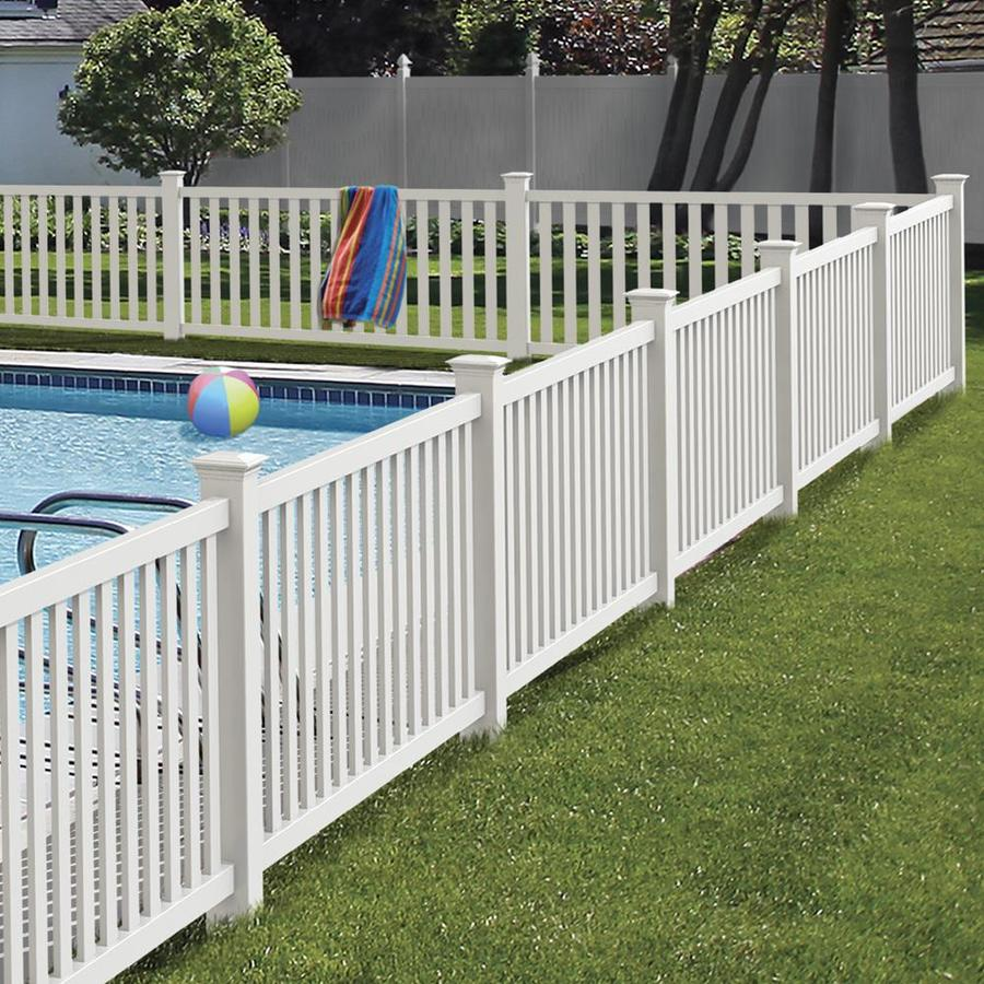 Freedom Ready-To-Assemble Terex White Vinyl Fence Panel (Common: 8-ft x 4-ft; Actual: 7.56-ft x 4.04-ft)