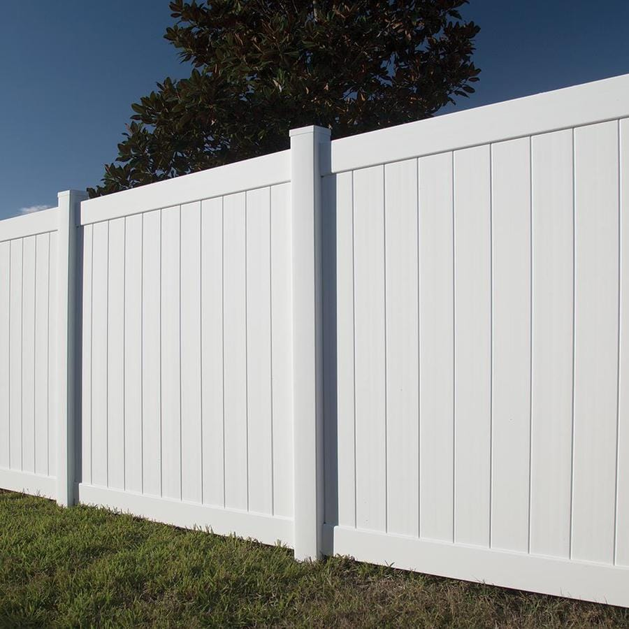 Freedom Ready-To-Assemble Hampton White Vinyl Privacy Fence Panel (Common: 6-ft x 6-ft; Actual: 5.56-ft x 5.83-ft)