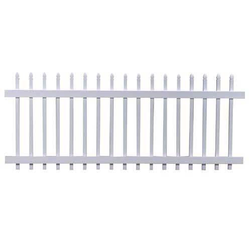 "Freedom 36.50"" x 7.68' White Classic Gothic Vinyl Picket Fence Panel"