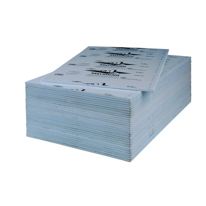 Styrofoam R 4 Common 0 78 In X 4 Ft X 8 Ft Actual 0 78 In X 4 Ft X 8 Ft Residential Sheathing Square Edge 1 Faced Polystyrene Foam Board Insulation In The Foam Board Insulation Department At Lowes Com