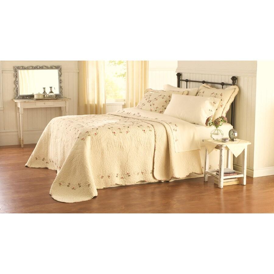 Modern Heirloom Felisa Embroidered 1-Piece Cream King Bedspread Set