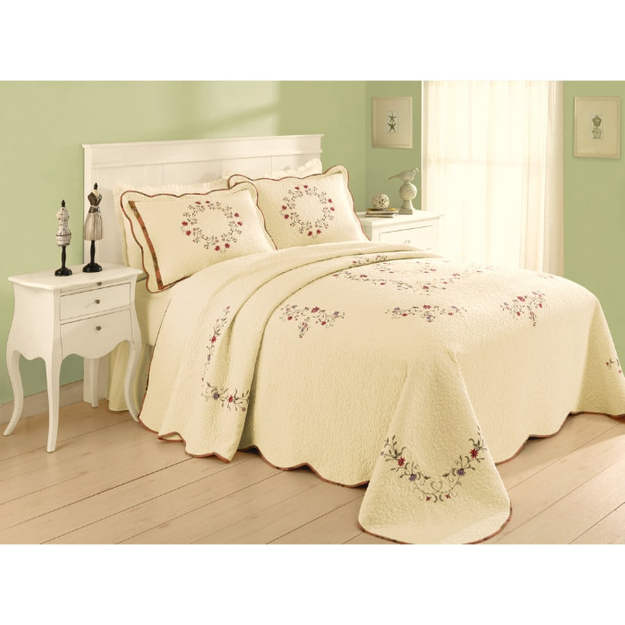 Modern Heirloom Angela Embroidered 1-Piece Cream King Bedspread Set