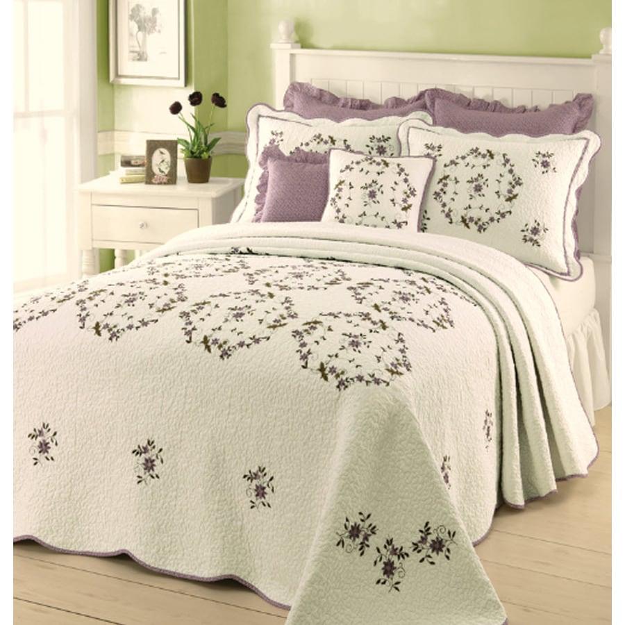 Modern Heirloom Gwen Embroidered 1-Piece Cream Queen Bedspread Set