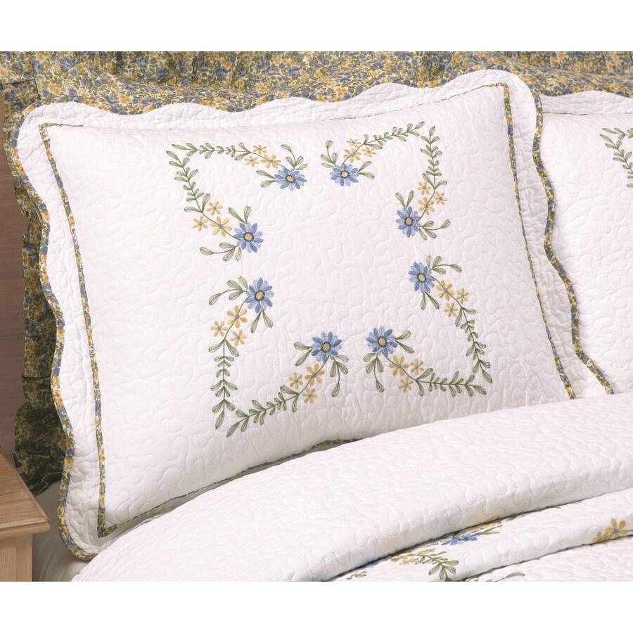 Modern Heirloom Heather Embroidered 1-Piece White Full Sham