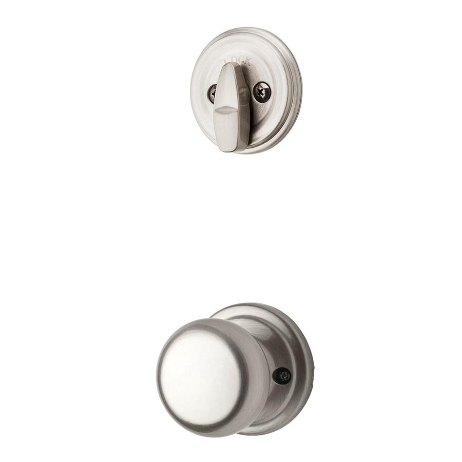 Kwikset Hancock 1-3/4-in Satin Nickel Single Cylinder Knob Entry Door Interior Handle